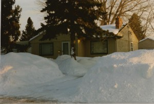 Snow in front of my house in Moorhead MN, 1997