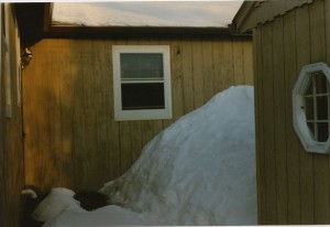 My backyard snowpile, Moorhead MN, Spring 1997